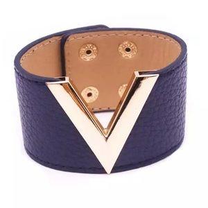 Jewelry - Women's WIDE Leather-Like BLUE & GOLD Bracelet